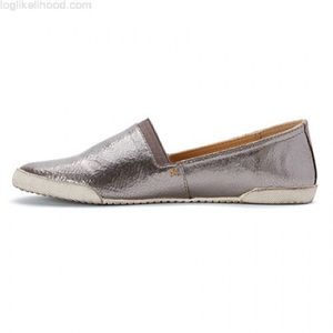 Frye Melanie Pewter Metallic Slip On Flats Loafers